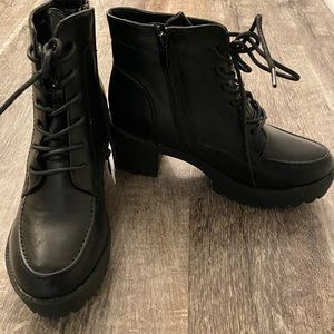 Shoes - Black Leather Chunky Boots- Brand New